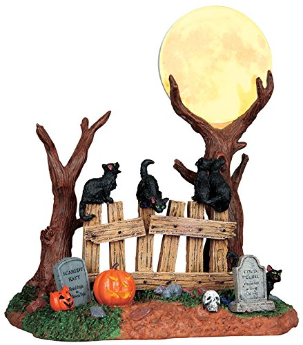 Lemax 94969 HAPPY HOWL-O-WEEN SPOOKY TOWN Lighted Moon Cats Halloween Decor (Halloween Cat Decorations)