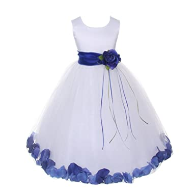 eaf54c929 Kids Dream Little Girls White Satin Royal Blue Petal Sash Flower Girl Dress  2