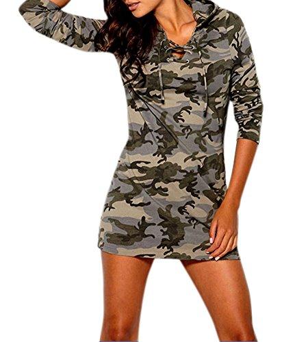 Ideal4dress Women's Casual Empire Waist Hood Camouflage Above Knee Mini Dress