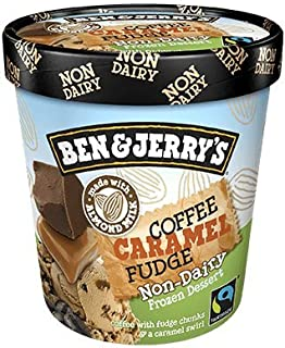 product image for Ben & Jerry's - Non-Dairy Frozen Dessert, Non-GMO - Fairtrade - 100% Certified Vegan - Made with Almond Milk - Responsibly Sourced Packaging, Coffee Caramel Fudge, Pint (8 Count)
