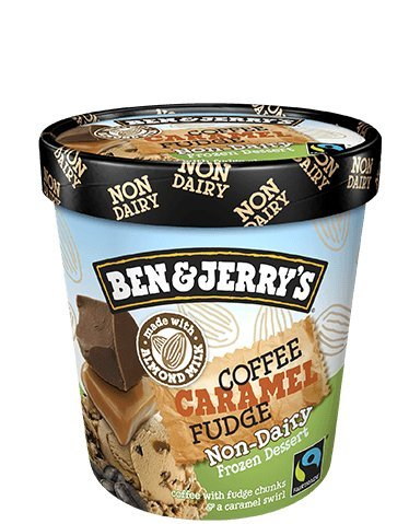 Milk Cream Almond Ice - Ben & Jerry's - Non-Dairy Frozen Dessert, Non-GMO - Fairtrade - 100% Certified Vegan - Made with Almond Milk - Responsibly Sourced Packaging, Coffee Caramel Fudge, Pint (8 Count)