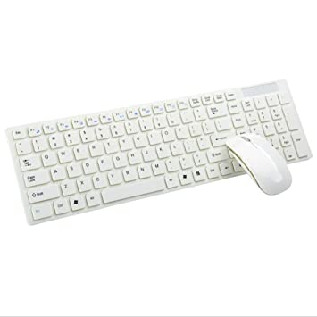 ordenador portátil ultra-delgada de teclas del teclado del ordenador y ratón Accesorios para TV Set Teclado inalámbrico , white: Amazon.es: Deportes y aire ...