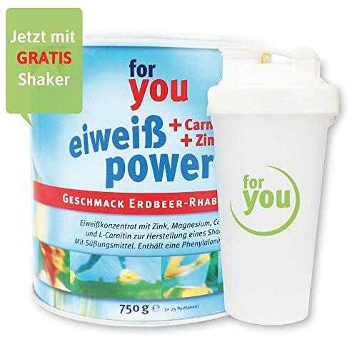 for you Power Eiweiß nach Strunz I Eiweißpulver Erdbeer-Rhabarber 750g + Shaker I mit Carnitin Whey-Protein Sojaprotein…