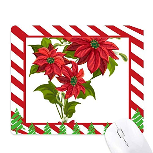 - Christmas Flower Poinsettia Bouquet Red Mouse Pad Candy Cane Rubber Pad Christmas Mat