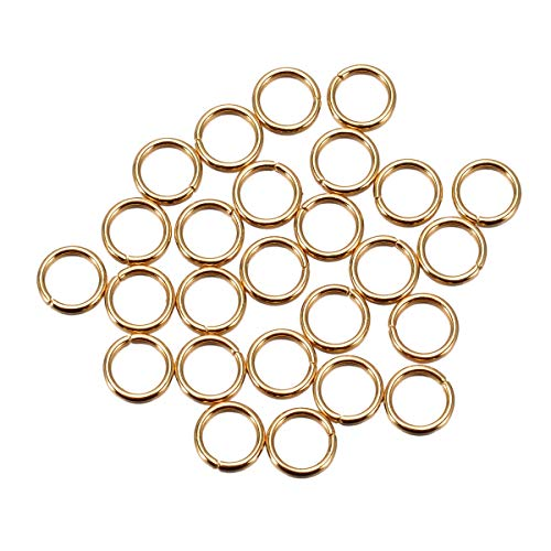 30pcs Gold-Plated Stainless Steel Open Jump Rings Connectors Fit for DIY Jewelry Making Findings (6mmx0.8mm)