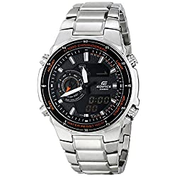 Casio Men's EFA-131D-1A4VCF Edifice Analog-Digital Silver-Tone Stainless Steel Watch
