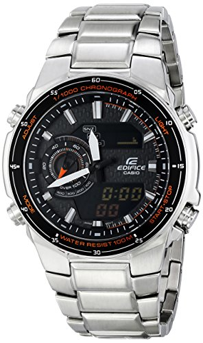 Casio Edifice Chronograph Alarm - Casio Men's EFA-131D-1A4VCF Edifice Analog-Digital Silver-Tone Stainless Steel Watch
