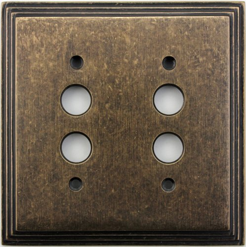 (Classic Accents Deco Aged Antique Brass Two Gang Push Button Light Switch Wall Plate)
