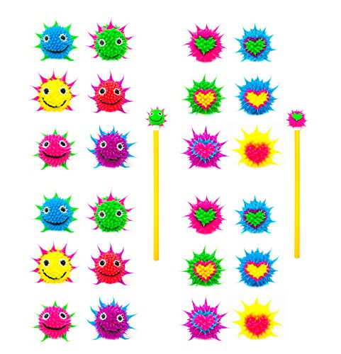 Pencil Toppers for Kids Girls Boys Students 24 PCs - Spiky Silicone Fidget Pencil and Pen Tops - Fun Back to School Supplies - Party Favors, Teacher Rewards, Classroom Prizes