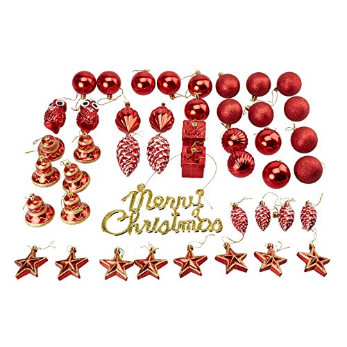45-Pack Christmas Tree Ornaments Set - Assorted Red Shatterproof Balls, Baubles, Pendants, Stars, Owls, Bells, Pine Cones, Gift Boxes, 10 Festive Holiday Designs, Winter Hanging Plastic Decoration