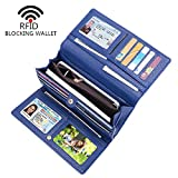 i2crazy Womens RFID Blocking Wallet Classic Clutch Leather Long Wallet Card Holder Purse Handbag(Blue Clutch)
