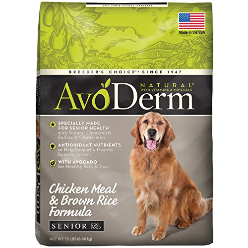 AvoDerm Natural Senior Chicken Meal & Brown Rice Formula Dry Dog Food, 15-Pound