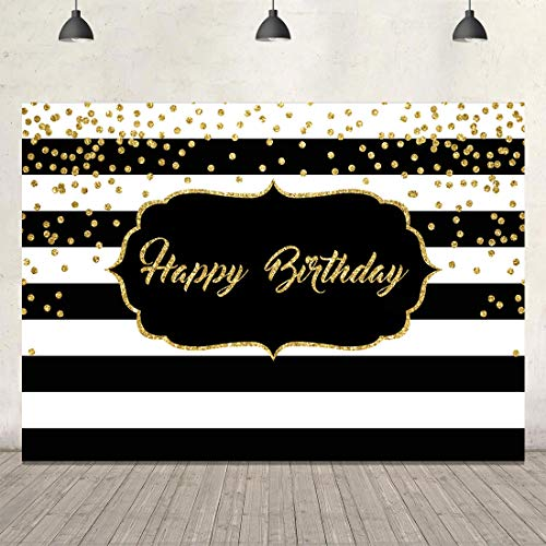 Happy Birthday Backdrop for Adult Party Glitter Black and White Stripe Background 7x5ft 40th 50th 60th Birthday Backdrop for Men Women Kids Birthday Party Favors Cake Table Decors Photo Booth Props