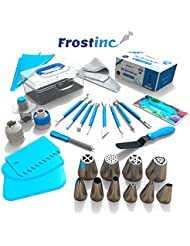 Frostinc Perfectly Assorted Cake Decorating Supplies 34 Pcs Kit - 10 Russian & Cone Icing Tips with 2 Couplers, 2 Reusable & 6 Disposable Piping Bags, 8 Model Tools, Scrapers & BONUS Items
