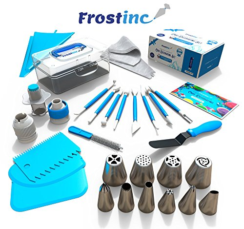 Frostinc Perfectly Assorted Cake Decorating Supplies 34 Pcs Kit - 10 Russian & Cone Icing Tips with 2 Couplers, 2 Reusable & 6 Disposable Piping Bags, 8 Model Tools, Scrapers & BONUS Items by Frostinc