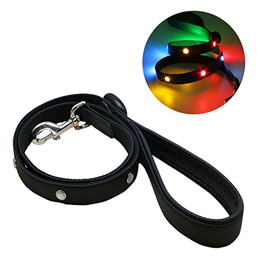 Waterproof LED Dog Leash Light Up Night Safety Leash USB Rechargeable Flash Colorful Light Pet Leash For Hunting Made from PVC Coated Nylon Webbing