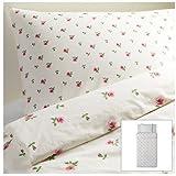 IKEA(イケア) EMELINA KNOPP 150x200/50x60 cm 10198543 掛け布団カバー&枕カバー、ホワイト、ピンク