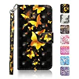 Galaxy S9 Plus Case, The Grafu Wallet Case PU Leather 3D Painted Folio Flip Cover, Card Holder Stand Case with Wrist Strap for Samsung Galaxy S9 Plus, Butterfly #1