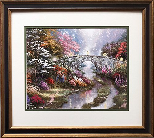 (Thomas Kinkade Stillwater Bridge Newly Custom Framed Art Print Framed Size: 19