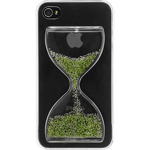 PhoneNatic Case für Apple iPhone 4S Hülle grün-weiß Sanduhr Hard-case für iPhone 4S + 2 Schutzfolien
