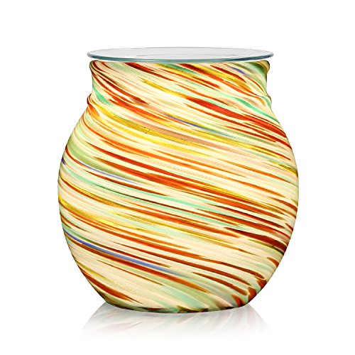 Fragrant Wax - COOSA Colorful Glass Electric Oil Warmer or Candle Wax Tart Burner Incense Oil Warmer Fragrance Warmer Night Light Aroma Decorative Lamp for Gifts & Decorfor Suit for Home Office Bedroom Living Room