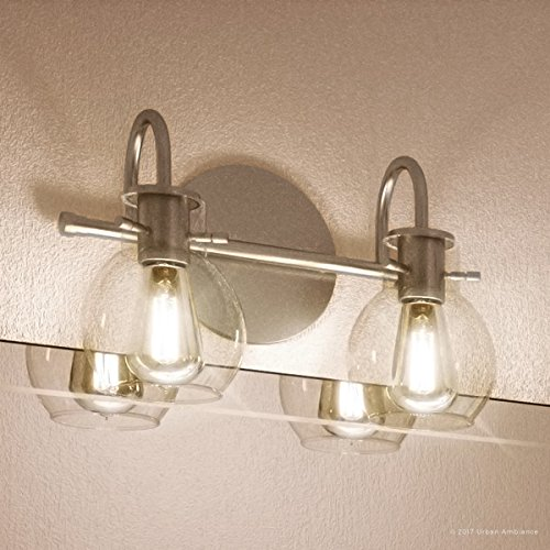 Luxury Vintage Bathroom Light, Medium Size: 9''H x 14''W, with Industrial Style Elements, Floating Glass Design, Aged Nickel Finish and Clear Glass, Includes Edison Bulbs, UQL2040 by Urban Ambiance by Urban Ambiance (Image #8)