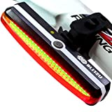 BLITZU Ultra Bright Bike Light Cyborg 168T USB Rechargeable Bicycle Tail Light. Red High Intensity Rear LED Accessories Fits On Any Road Bikes, Helmets. Easy To Install for Cycling Safety Flashlight