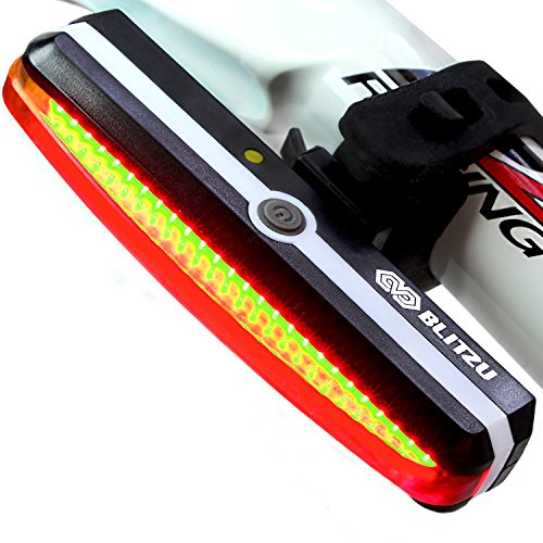 Ultra Bright Bike Light Blitzu Cyborg 168T USB Rechargeable Bicycle Tail Light. Red High Intensity Rear LED Accessories Fits On Any Road Bikes, Helmets. Easy To Install for Cycling Safety Flashlight -