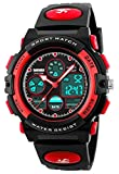 Fanmis Boys Analog Digital Sports Watch 24H Military Time Dual Time Quartz Waterproof LED Back Light with Simple Large Numbers 164ft 50M Water Resistant Calendar Day and Date Alarm Stopwatch Red