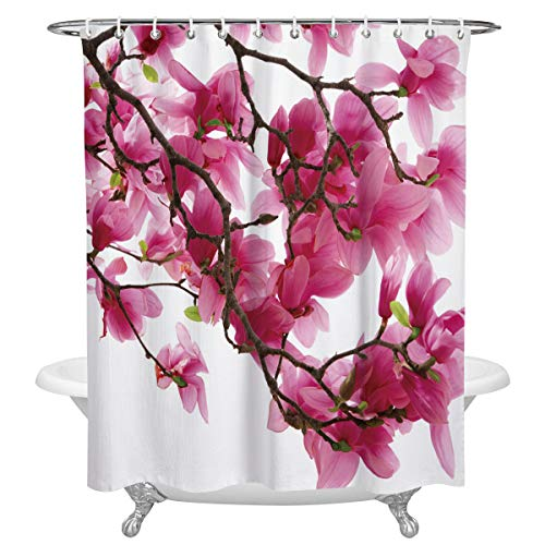 SIMIGREE Extra Long Fabric Bath Shower Curtains Japan'aCherryBlossoms Water, Soap Resistant Curtains Sets with Hooks 72
