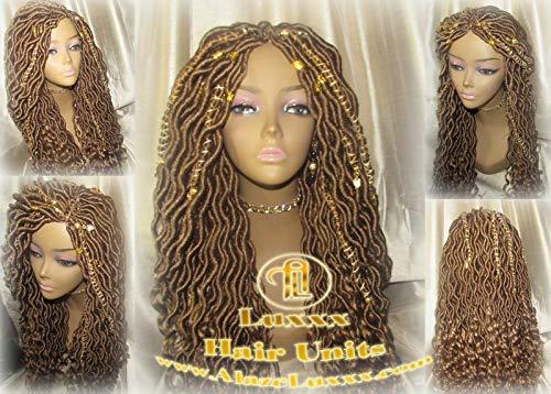 Platinum Blonde Honey Goddess Faux Gypsy Bohemian Boho Dread Loc Wig Blonde #613#27 Wavy Marley DE SE Dred Lock Blonde Crochet Braided Wigs