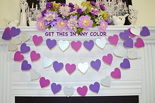 purple heart garland violet grape silver wedding heart decoration purple bridal shower purple