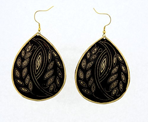 "Price comparison product image Handmade Earrings - Tear Drop Hand Painted Gold & Silver Flower Leaf Brass Earrings (approx.2.8"" drop)"