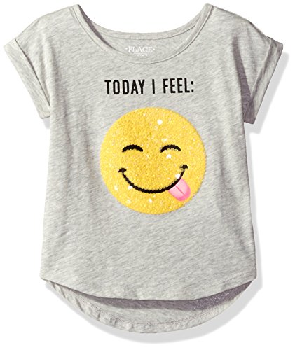 The Children's Place Little Girls' Graphic Slub Hi Lo Top, Heathered Falcon, S (5/6) (Girls Top)