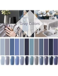 CLAVUZ Gel Nail Polish 12pcs Gray Nail Polish Kit Soak...