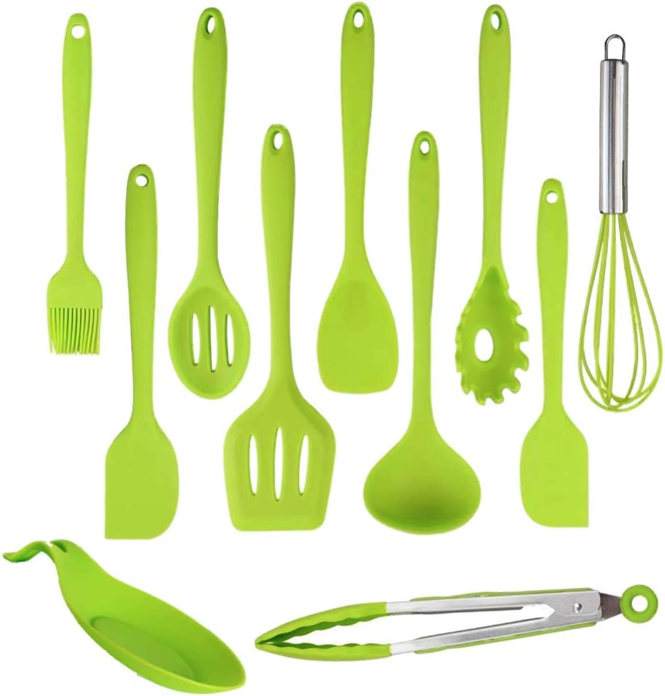 Kitchen Silicone Utensil Set - Cooking Utensils - 11 Pcs Kitchen Utensils set Heat Resistant - Non-Stick Cookware With Spatulas, Serving Spoons Kitchen Tools & Kitchen Gadgets (Green 11 pcs)