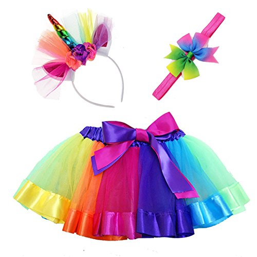 Maticr Kids Rainbow Tulle Tutu Bow Tie Skirt & Unicorn Flower Headband Girls Costume Kit (Rainbow Pony, -