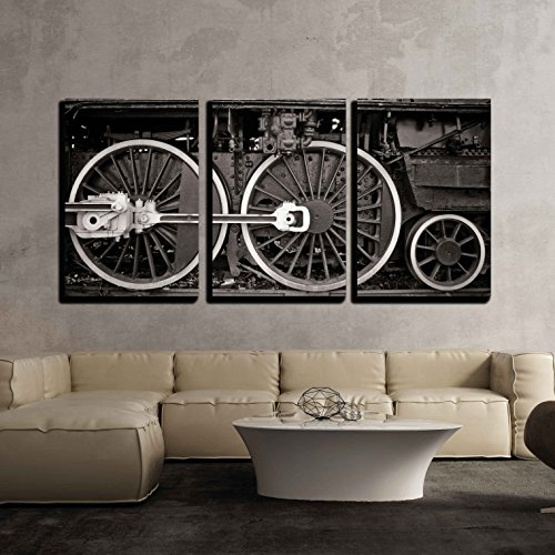Ships Wheel Sepia - wall26 - 3 Piece Canvas Wall Art - Old Locomotive Wheel Detail in Warm Black and White - Modern Home Decor Stretched and Framed Ready to Hang - 24