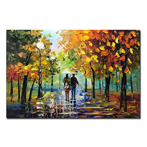 Desihum Art, 24x36 Inch Oil Paintings Modern Abstract Landscape Artwork Romantic Rainy Night Canvas Painting Wall Art Wall Decorations