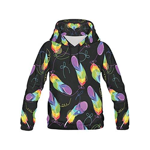 - Unique Debora Custom Women's Full-Zip Long-sleeved Sweatshirt Hoodie with All Over Print with Rainbow Feathers