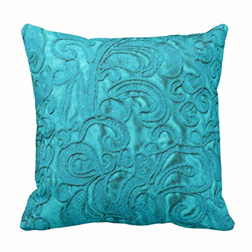 Newhomestyle Throw Pillow Cover Turquoise Faux Embroidered Silk Floral Motif Decorative Pillow Case Western Home Decor Square Cushion Pillowcase 18x18 inches