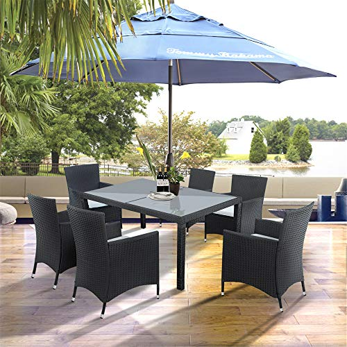 Wicker Dining Set, 7 Piece Outdoor Patio Furniture Set Wicker Rattan Table and Chairs Set with Beige Cushion for Lawn Backyard Balcony Garden.