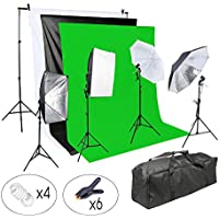 Lightdow Photographic 800W Softbox/Backdrop/Light Stand/Softlight Umbrella/Reflector Photo Video Studio Lighting Complete Set (Model Number: LD-TZ003)