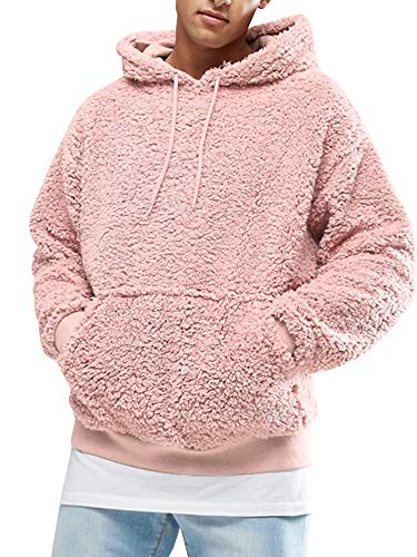 (Runcati Mens Sherpa Hooded Pullover Fuzzy Sweatshirts Long Sleeve Jackets Fleece Fluffy Front Pocket Fall Winter Outwear(Pink, X-Large))