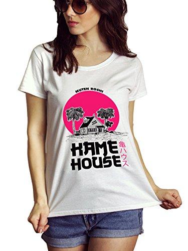 LeRage Dragon Ball Shirt Fan Made Kame House V-Neck shirt Funny Goku Tee White WOMEN'S Large