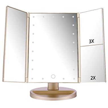 Easehold Vanity Makeup 2X 3X Magnifiers 21 LED Lights Tri-Fold 180 Degree Adjustable Countertop Cosmetic Bathroom Mirror, Gold
