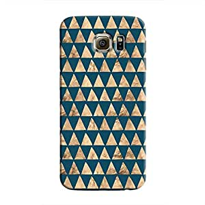 Cover It Up - Brown Navy Triangle Tile Galaxy S6 Edge Hard Case