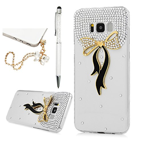 Crystal Case Cover Hard Diamond (For Samsung Galaxy S8 Plus Case, 3D Handmade Luxury Bling Diamond Rhinestone Crystal Jewelled Hard PC Clear Shock Absorption Cover with Bling Butterfly Chain Dust Plug and Stylus by YOKIRIN)