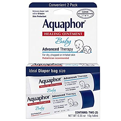 Aquaphor Baby Healing Ointment To-Go Pack - Advanced Therapy for Chapped Cheeks and Diaper Rash - Two .35 oz. Tubes