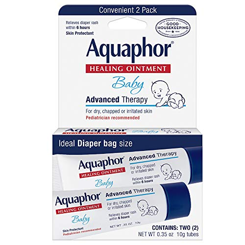 Aquaphor Baby Healing Ointment To-Go Pack - Advanced Therapy for Chapped Cheeks and Diaper Rash - Two .35 oz Tubes